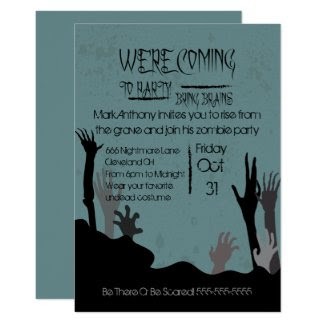 Coming To Party Bring Brains Zombie Invitation