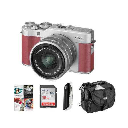 X-A5 24.2MP Mirrorless Digital Camera with XC 15-45mm f/3.5-5.6 OIS PZ Lens, PInk - Budle