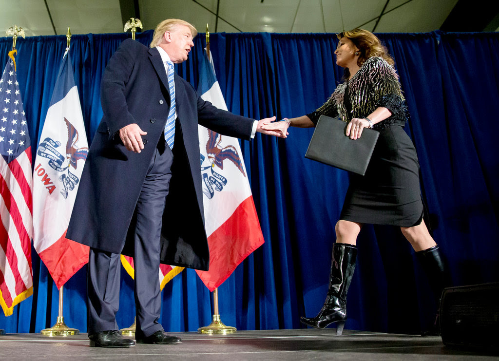 Donald J. Trump with Sarah Palin at a campaign event in Ames, Iowa, on Tuesday.