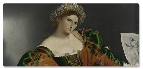 Detail from Lorenzo Lotto, 'Portrait of a Woman inspired by Lucretia', about 1530-3 © The National Gallery, London