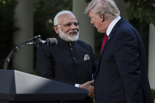 President Trump and Indian Prime Minister Narendra Modi shake hands in the Rose Garden of the White House on June 26. (Jabin Botsford/The Washington Post)