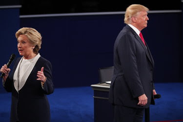 Hillary Clinton and Donald J. Trump at the second presidential debate in St. Louis.