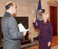 Janet Yellen Ben Bernanke Swearing In
