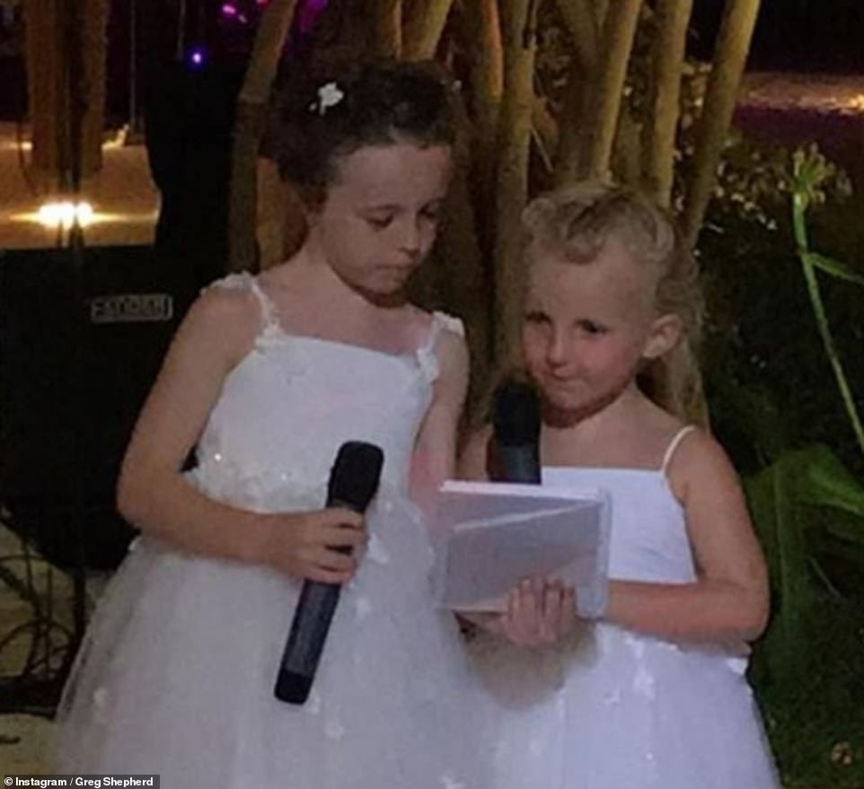 Proud: Another snap - posted by Greg - also showed little Nelly make a speech in honour of her mum and dad on their big day