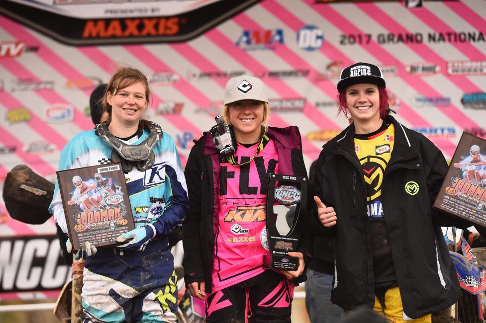 Bike WXC Podium: (3) Rachel Gutish, (1) Becca Sheets, (2) Brooke Cosner.