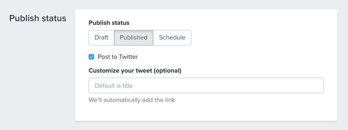 Tweet blog post when publishing