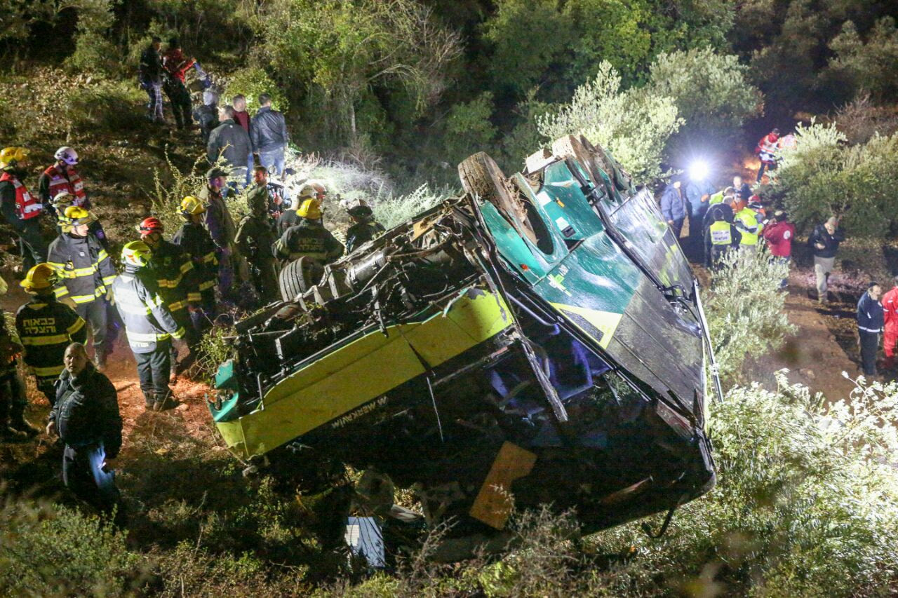 The Egged bus that fell off a cliff on Jan. 27, 2017