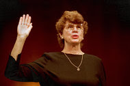 Janet Reno was sworn in before the Senate Judiciary Committee for her confirmation hearing in March 1993. She became the first woman to hold the position of United States attorney general.