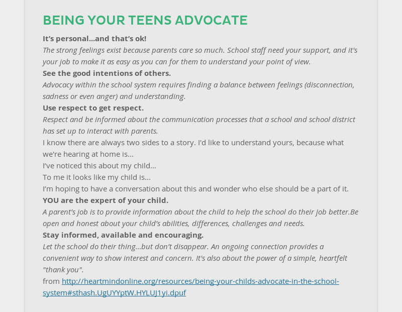 BEING YOUR TEENS ADVOCATE It's personal...and that's ok! The strong feelings exist because parents...