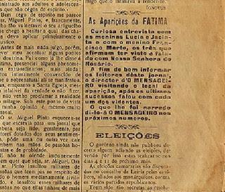 Saiba como a mídia noticiou as aparições de Nossa Senhora em Fátima no ano de 1917.