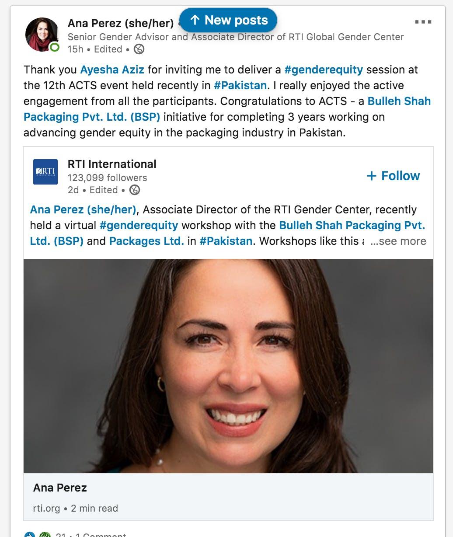 Anna Perez LinkedIn post