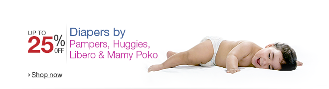 Up to 25% off on Diapers by Pampers, Huggies, Libero and Mamy Poko
