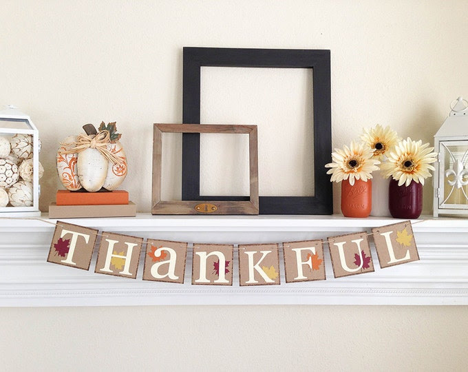 Thanksgiving Decor, Thankful banner, Fall Home Decor, Thanksgiving Decorations, Thankful Sign, Thanksgiving Banner, Fall Decorations