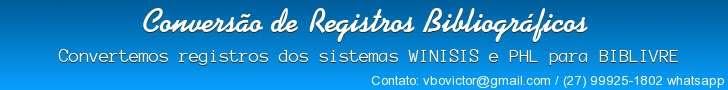 Conversão de Registros Bibliográficos para BIBLIVRE 8oNw80