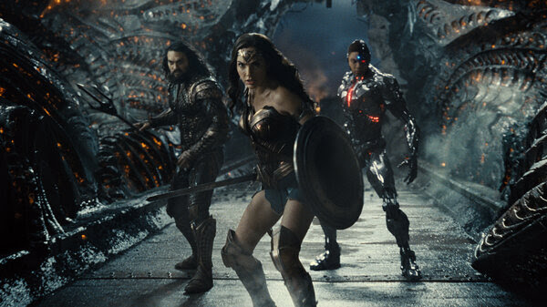 Aquaman (Jason Momoa), Wonder Woman (Gal Gadot), and The Flash (Ezra Miller) in Zack Snyder's Justice League.