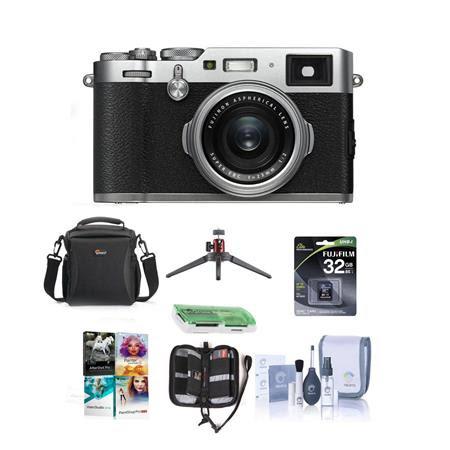 X100F 24.3MP Digital Camera, Fujinon 23mm f/2 Lens, Silver- Bundle With 32GB SDHC Card, Ca