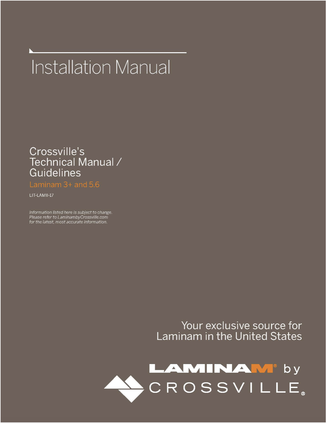 Installation Manual Cover Crossville GPTP