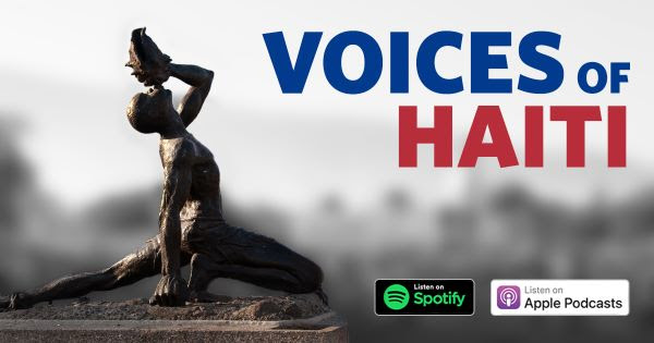 Title text says Voices of Haiti near a statue of a man blowing a conch shell towards the sky