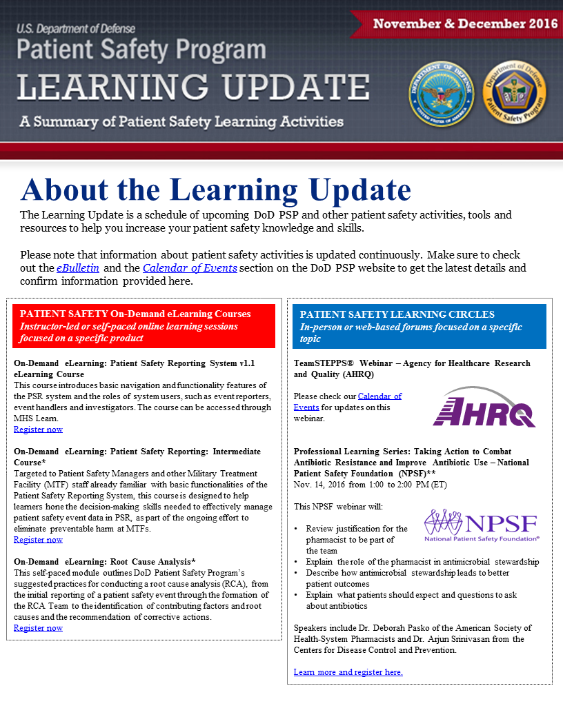 DoD PSP Nov Dec 2016 Learning Update