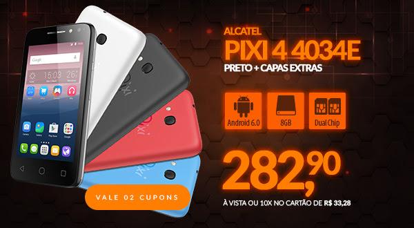 Smartphone Alcatel Pixi 4 4034E, Quad Core, Android 6.0, Tela 4´, 8MP, 8GB, Dual Chip - Preto + Capas Extras
