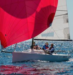 J/70 sailing Fiesta Cup regatta off Santa Barbara, CA