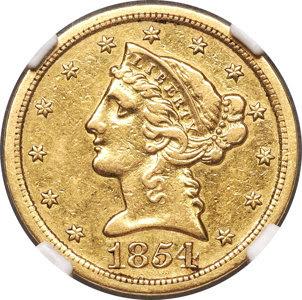 1854-S $5 XF45 NGC