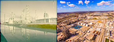 Bayport Then (L): LyondellBasell's Bayport Complex is celebrating 50 years of operation of its propylene oxide (PO) plant. The plant started up in 1969 and was on the forefront of the chemical industry as the first plant to use tertiary butyl hydro peroxide process technology.  |  Bayport Now (R): LyondellBasell's Bayport Complex celebrates the 50th anniversary of its propylene oxide (PO) plant. The materials produced at our plant go far and wide and are used to make a variety of products.