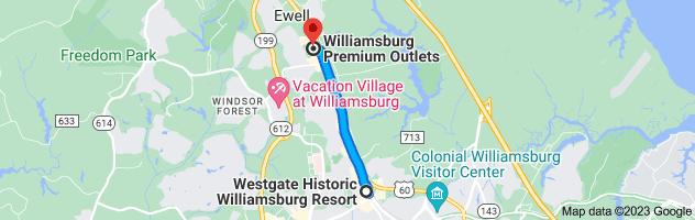 Map from Westgate Historic Williamsburg Resort, 1324 Richmond Rd, Williamsburg, VA 23185 to First Baptist Church Denbigh, 3628 Campbell Rd, Newport News, VA 23602