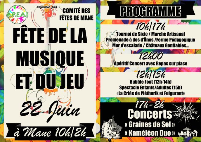 affiche et programme fête de la musique et du jeu le samedi 22 juin à Mane