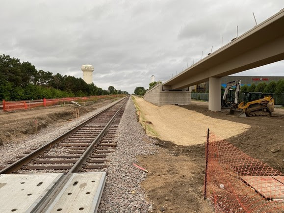 Beltline Boulevard: new, realigned freight rail track are in place and the regional trail overpass continues to take shape.