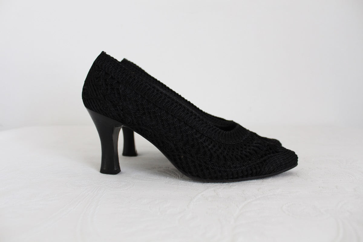 VINTAGE STRATEGIA WOVEN HEELS - SIZE 5.5