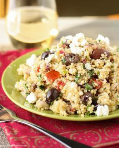 Adult Lunch/Side Salad- Mediterranean Pesto Quinoa Salad with Chicken, Feta, Sun Dried Tomatoes, and Calamata Olives