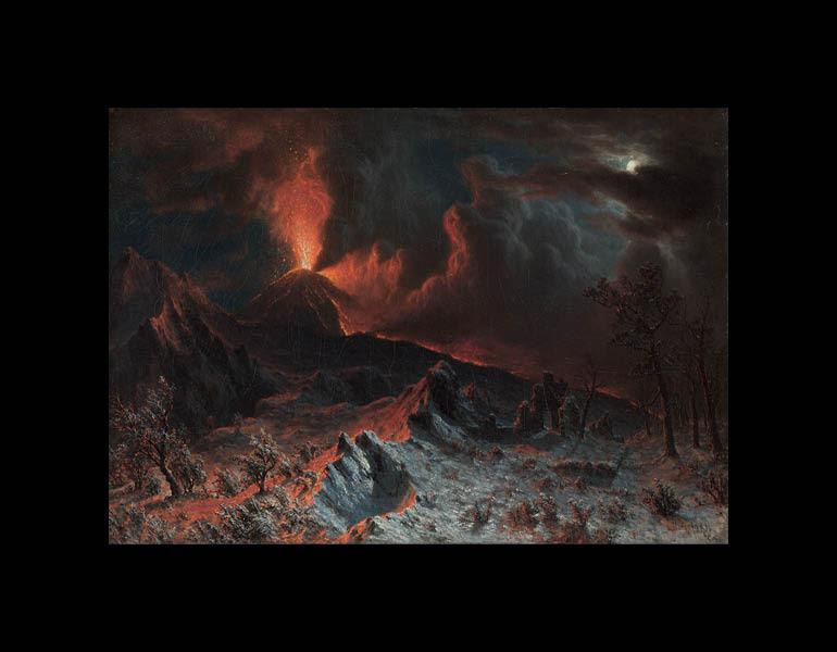 Mount Vesuvius at Midnight, 1868. Albert Bierstadt (American, 1830–1902). Oil on canvas; 42.60 x 60.70 cm. The Cleveland Museum of Art, Gift of S. Livingstone Mather, Philip Richard Mather, Katherine Hoyt (Mather) Cross, Katherine Mather McLean, and Constance Mather Bishop 1949.541