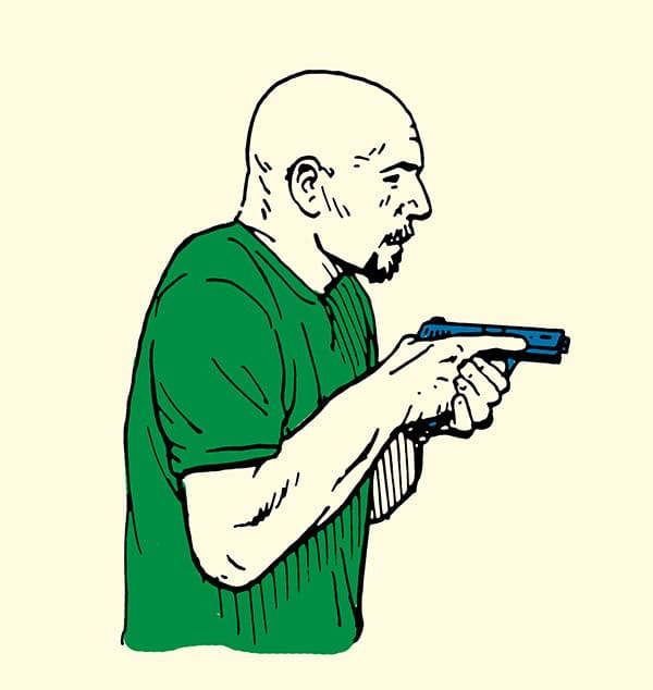man holding pistol in high ready position illustration