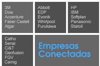 Empresas Líderes Conectadas - 3M, Dow, Accenture, Faber Castell, Algar, Abbott, EDP, Evonik, Whirlpool, Furukawa, HP, IBM, Softplan, Panasonic, Statoil, Catho, Senai, Ci&T, Geofusion, FGV, Cemig