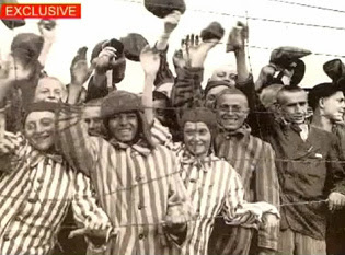 Liberation of Bergen Belsen, well                           nourished Jewish detainees with German striped                           detainee suits and caps on a cold day in wet                           and cold April 1945, April 15, 1945 [5]; other                           web sites state that this photo would be from                           Dachau.