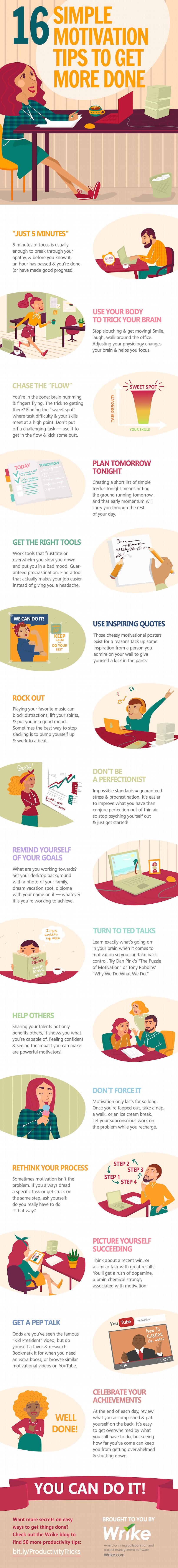 16 Consejos simples motivación para hacer más cosas (#Infographic)