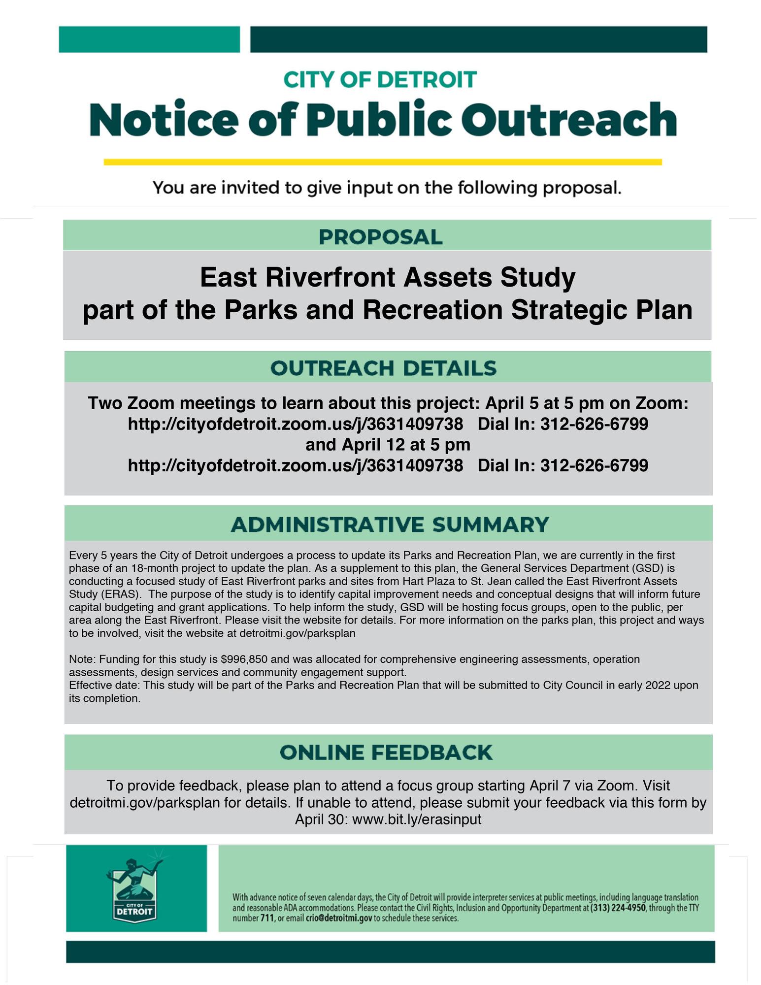 East Riverfront Assets Study April 5 & 12 Meetings