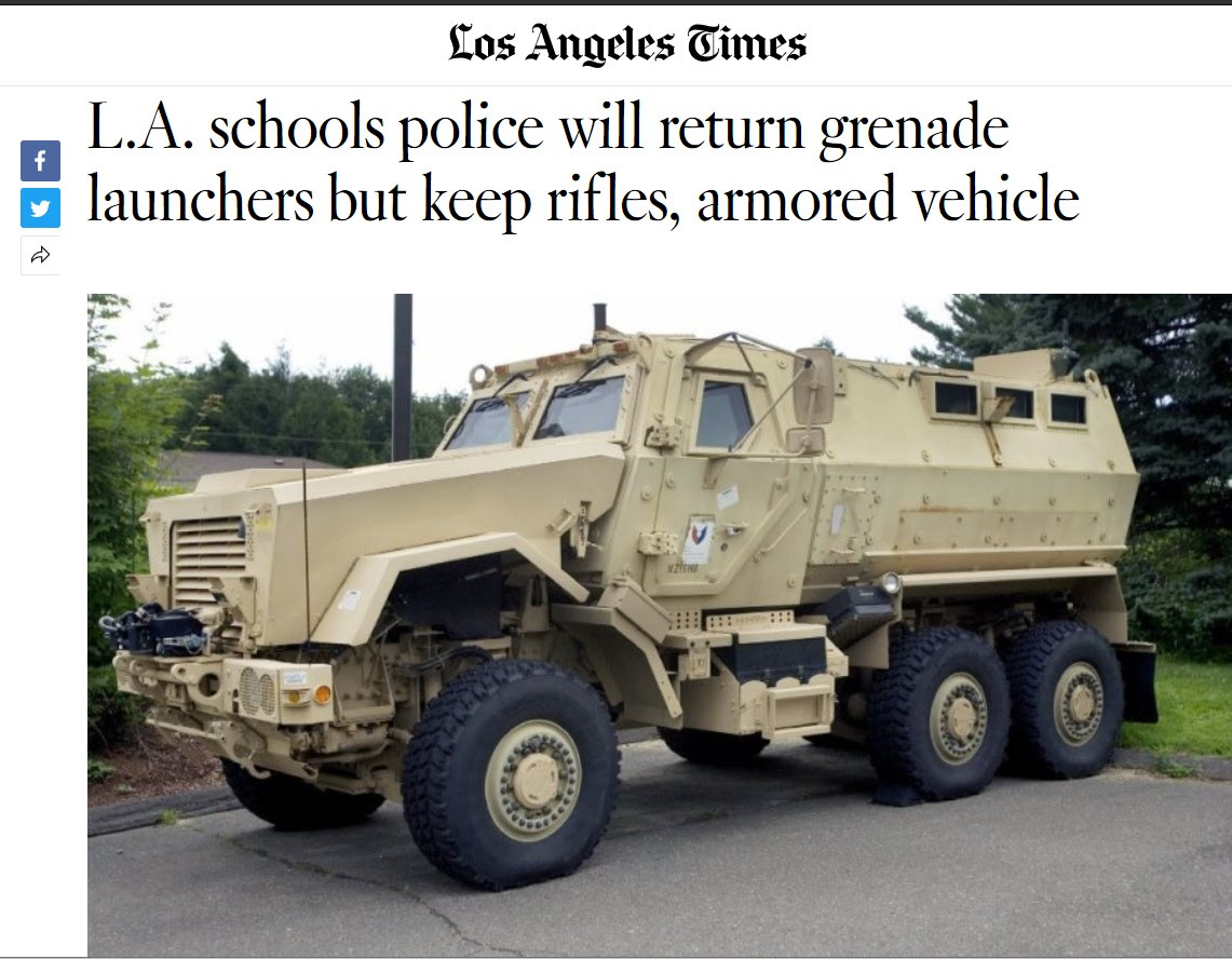 LA Times clipping showing armored car