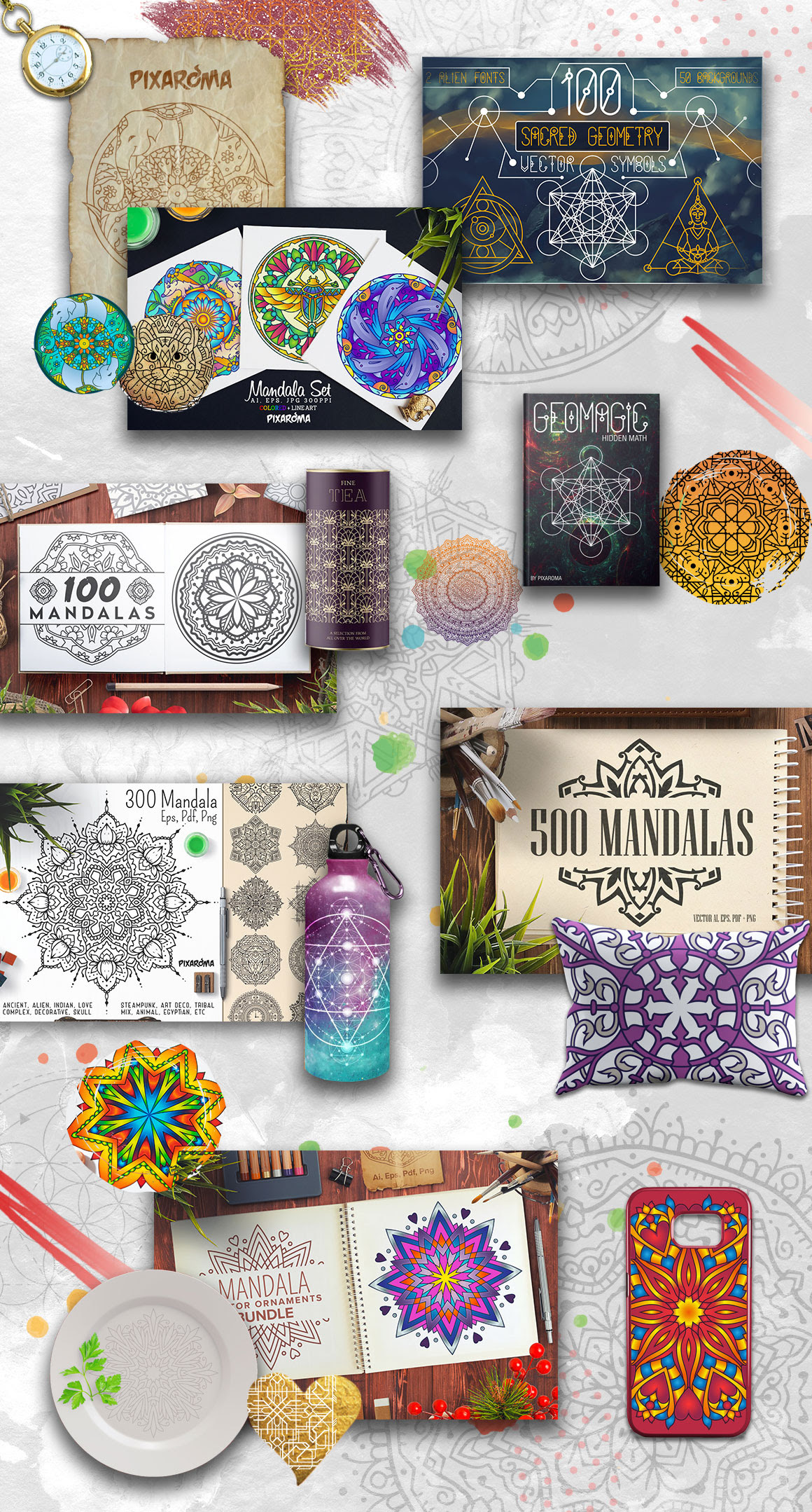 The Unique Mandala Designs Bundle! With this bundle, you'll get 1300 mandala designs with Extended Commercial Use License,
