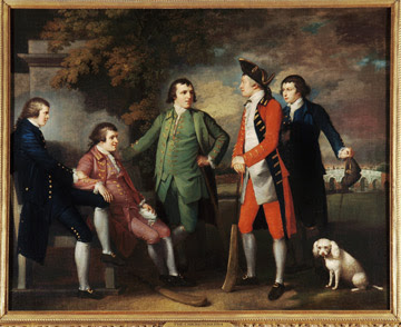 Arthur Middleton is shown standing on the far right in Benjamin West's 1764 painting The Cricketers. The bat-and-ball game cricket  traces its roots to 16th century Tudor England, and during the 18th century it became the very fashionable national sport of England.  Image Courtesy The Brook Club.