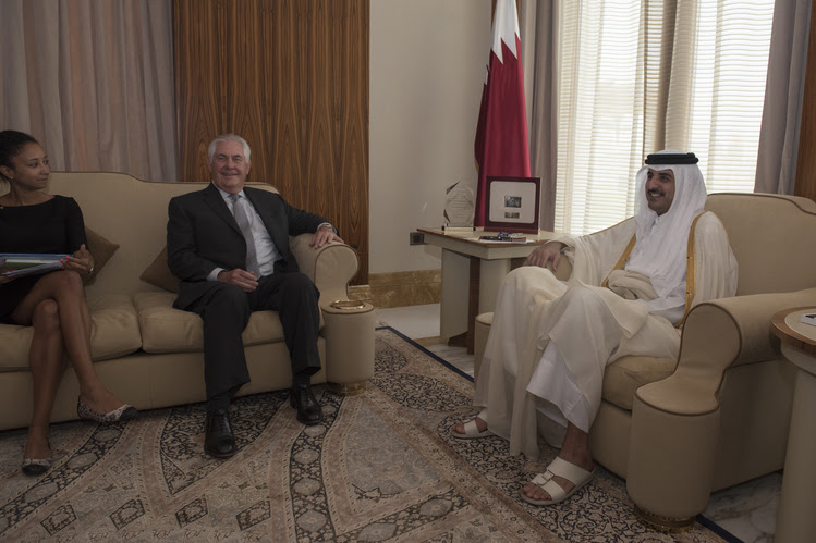 Secretary of State Rex Tillerson meets with the emir of Qatar, Sheikh Tamim Bin Hamad Al Thani, at the Sea Palace in Doha, Qatar, last week. (Alexander W. Riedel/State Department via AP)
