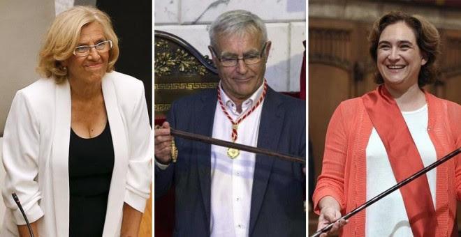 La alcaldesa de Madrid, Manuela Carmena, el de Valencia, Joan Ribó, y la de Barcelona, Ada Colau, el día de su investidura, el pasado mes de junio. EFE/REUTERS/AFP