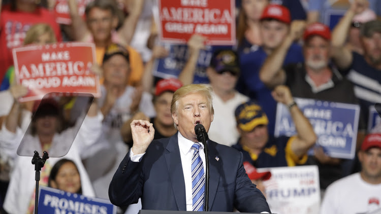 Donald Trump speaks last night during a rally in Huntington, W.Va. (Darron Cummings/AP)