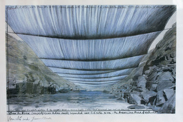 """A sketch of Christo's proposed artwork """"Over the River,"""" depicting a view from the Arkansas River."""