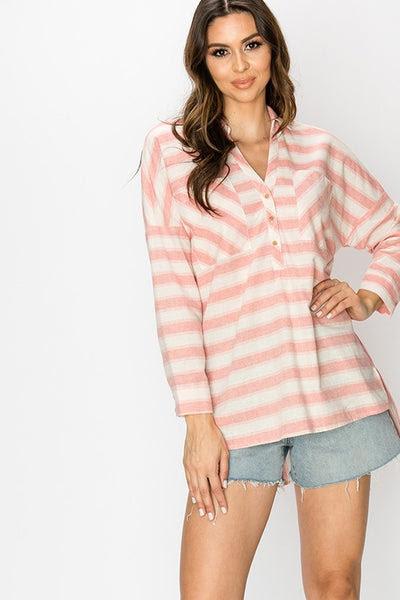 woven stripe 3 button shirt