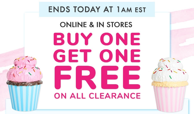 Buy One Get One Free on all Clearance!