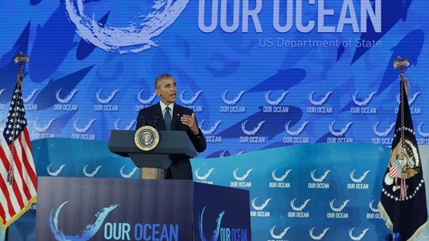 FILE - President Barack Obama speaks at the Our Ocean, One Future conference at the State Department in Washington, Thursday, Sept. 15, 2016.