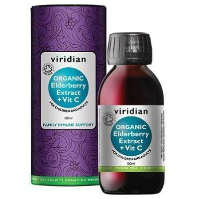 Viridian Organic Elderberry Extract + Vit C Liquid (100ml)