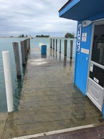 Flooded marinas and docks that have electric power running to them pose greater risk for electric shock drowning.